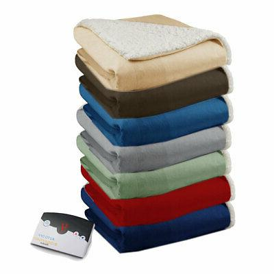 soft velour sherpa electric heated warming blanket