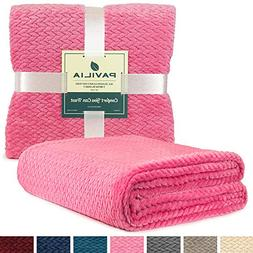 PAVILIA Luxury Soft Plush Pink Throw Blanket for Sofa, Couch