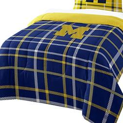 2pc NCAA Michigan Wolverines Twin Comforter and Sham Set Col