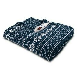 NEW Biddeford Blankets Microplush Electric Throw - Navy - Si