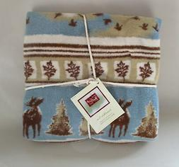 New Old Stock Woolrich Soft Throw Blanket Cabin Lodge Moose