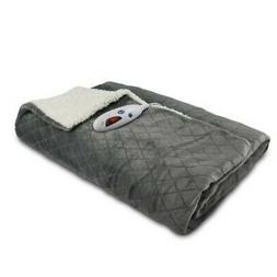 NEW Biddeford Blankets Velour Sherpa Electric Throw - Gray