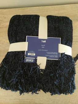 new with tags imports chenille blue throw