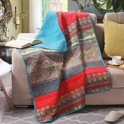 Paisley Boho Stripe Quilted Throw Blanket Exclusivo Mezcla