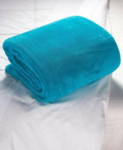Plush Bed Blanket - Teal Blue Full Queen