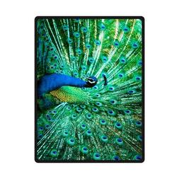 Portrait Of Peacock With Feathers Out Custom Fleece Blanket
