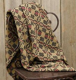 Primitive PATRIOTS KNOT THROW Tan Black Red Coverlet Woven B