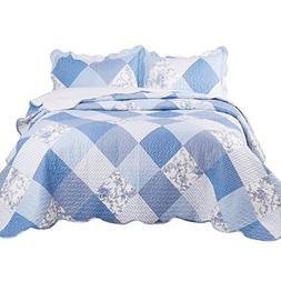 Bedsure Printed Quilt Coverlet Set Full/Queen Blue Floral Pa