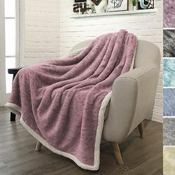 PAVILIA Premium Sherpa Throw Blanket for Couch, Sofa | Soft