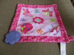 """Bright Stars Purple Teether on 9"""" Square Security Blanket Cr"""