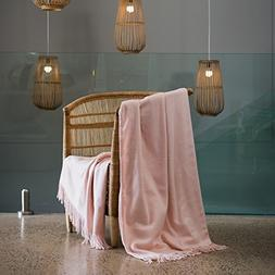 Haven & Earth Rose Pink Throw Blanket for Couch or Bed. Larg