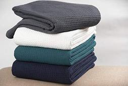 All season Cotton Thermal Blanket in Waffle Weave -Perfect f