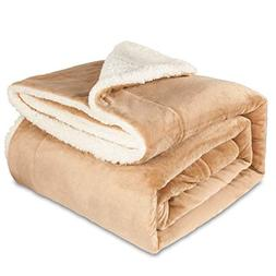 Maicico Sherpa Flannel Bed Throw Blanket Warm Soft Reversibl
