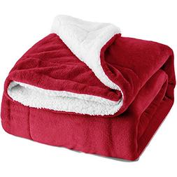 """Sherpa Throw Blanket Red 50""""x60"""" Reversible Fuzzy Bed Throws"""