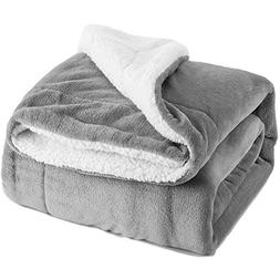 Bedsure Sherpa Bed Blanket Grey King Size 108x90 Bedding Fle