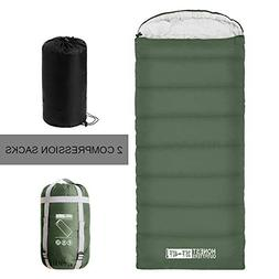 HONEST OUTFITTERS Sleeping Bag with Compression Sack, Envelo
