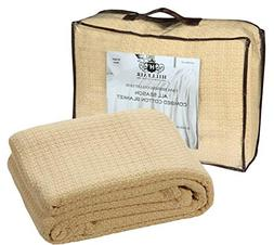 HILLFAIR 100% Soft Premium Combed Cotton Thermal Blanket–