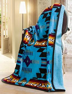 Southwest Design  Sherpa Lined Throw 16112 Turquoise Blue