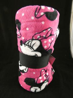 store minnie mouse face pink fleece throw