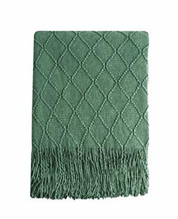 Bourina Green Throw Blanket Textured Solid Soft Sofa Couch D