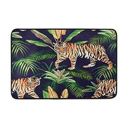 ALAZA Tiger in The Jungle Palm Tree Cactus Doormat Indoor Ou