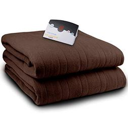 Biddeford Velour Full Electric Blanket with Controller, Choc