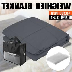 Weighted Blanket Queen Full 60''x40'' 15lb Reduce Stress Pro