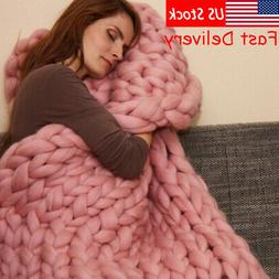 Winter Warm Chunky Knit Thick Blanket Hand Yarn Merino Bulky