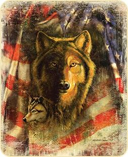Wolf and Patriotic American Flag Faux Fur Queen Size Blanket