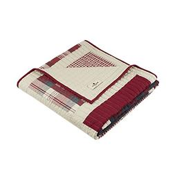 Woolrich Huntington Luxury Quilted Throw Red 50x70   Plaid P