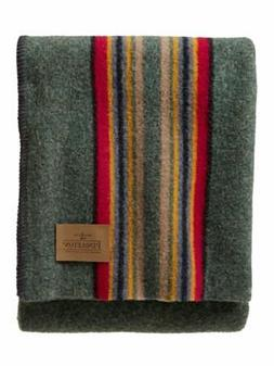 Pendleton Yakima Camp Wool Throw Blanket, Green Heather Mix,